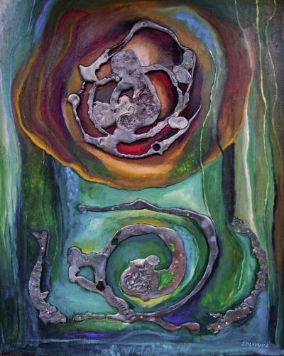 Koloběh života, kombinovaná technika,80 x 100 cm