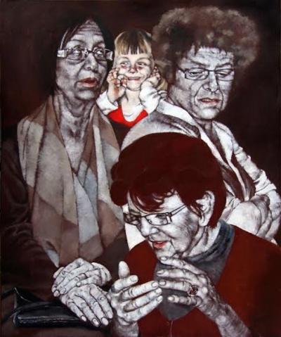 Rozhovor,2015,olej na plátně, 100x80 cm