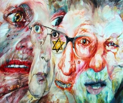 Stále před očima, stále na očích, 2015, akryl na plátně, 100x120 cm